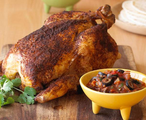 Mexican Roast Chicken with Olive Salsa recipe